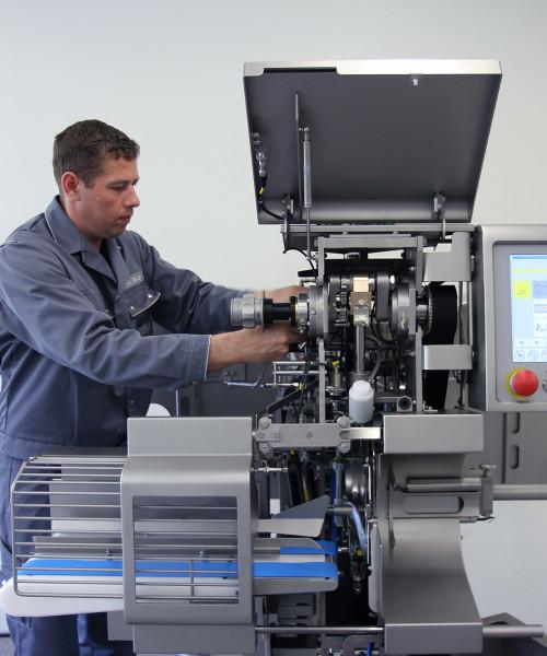 service employee with machine