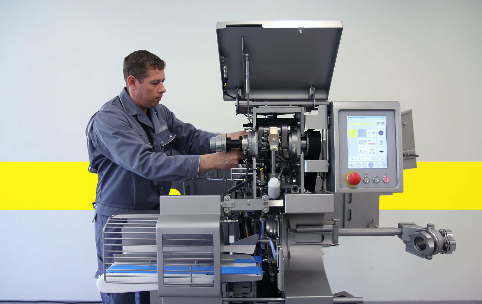 Service employee working on clipping machine
