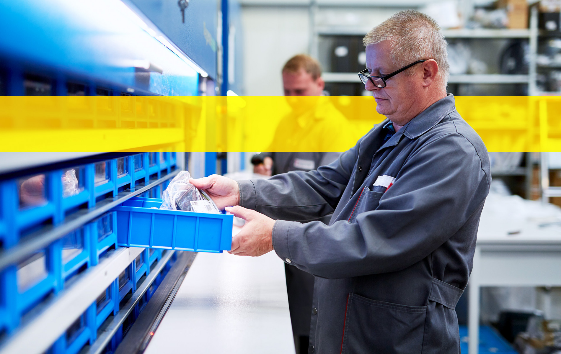 Service employee looks for spare parts